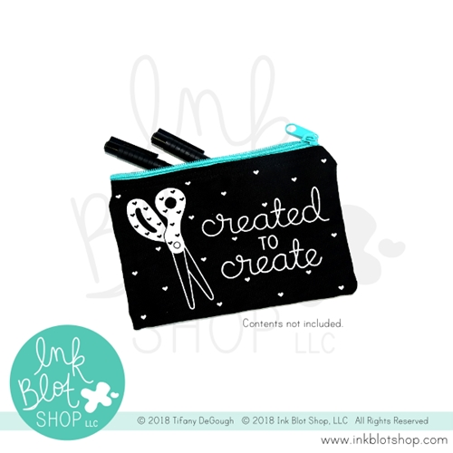 Ink Blot Shop Zipper Pouch CREATED TO CREATE ibzp001 Preview Image