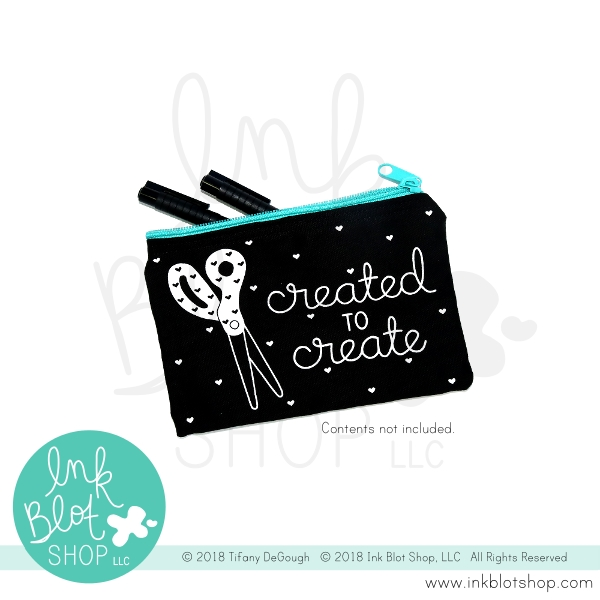 Ink Blot Shop Zipper Pouch CREATED TO CREATE ibzp001 zoom image