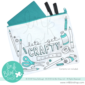 Ink Blot Shop Zipper Pouch LET'S GET CRAFTY ibzp003