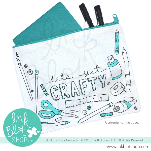 Ink Blot Shop Zipper Pouch LET'S GET CRAFTY ibzp003 zoom image