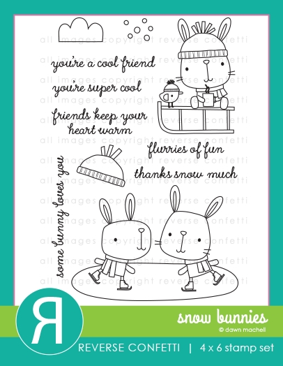 Reverse Confetti SNOW BUNNIES Clear Stamps  zoom image