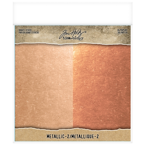 Tim Holtz Idea-ology 8 x 8 Paper Stash METALLIC 2 KRAFT STOCK Paperie th93780 Preview Image