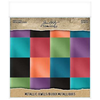 Tim Holtz Idea-ology 8 x 8 Paper Stash METALLIC JEWELS KRAFT STOCK th93781