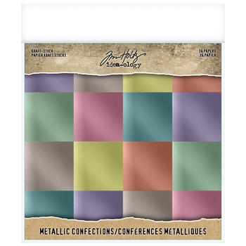 RESERVE Tim Holtz Idea-ology 8 x 8 Paper Stash METALLIC CONFECTIONS KRAFT STOCK Paperie th93784