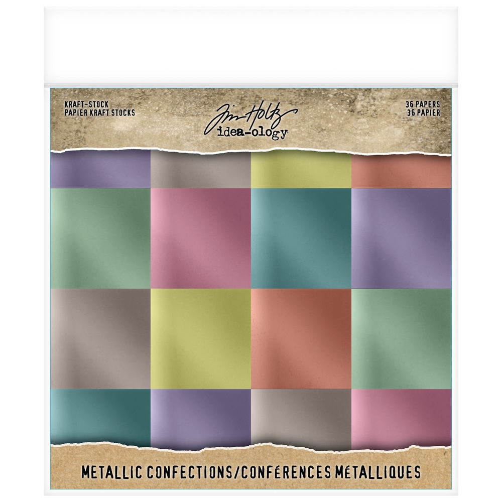 Tim Holtz Idea-ology 8 x 8 Paper Stash METALLIC CONFECTIONS KRAFT STOCK th93784 zoom image