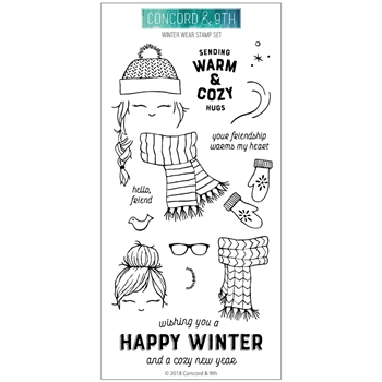 Concord & 9th WINTER WEAR Clear Stamp Set 10497*