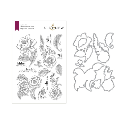Altenew ENGRAVED FLOWERS Stamp and Die Set ALT2812 Preview Image