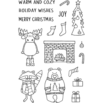 Jane's Doodles WARM AND COZY Clear Stamp Set 743467