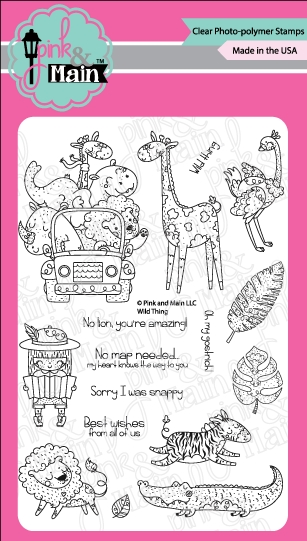 Pink and Main Wild Things Clear Stamp Set