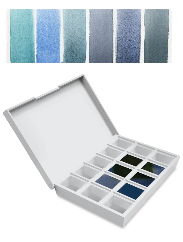 Daniel Smith BLUES Hand Poured Watercolor Half Pan Set 285650004* zoom image