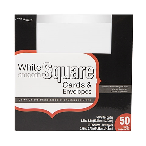 Darice WHITE CARDS AND ENVELOPES 50 Square Set Core'dinations gx-8000-89 Preview Image