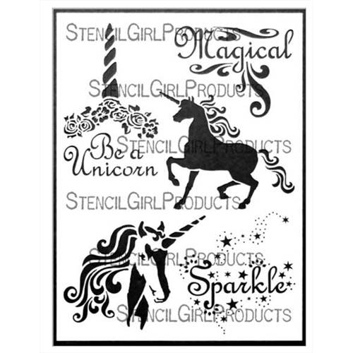 StencilGirl UNICORN MAGIC 9x12 Stencil l693 Preview Image