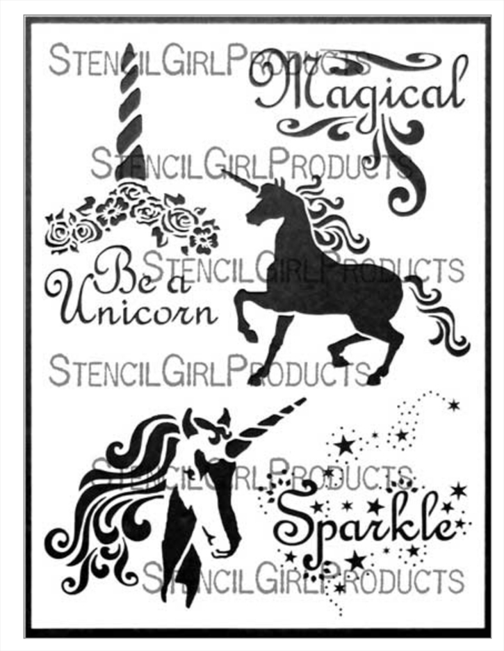 StencilGirl UNICORN MAGIC 9x12 Stencil l693 zoom image