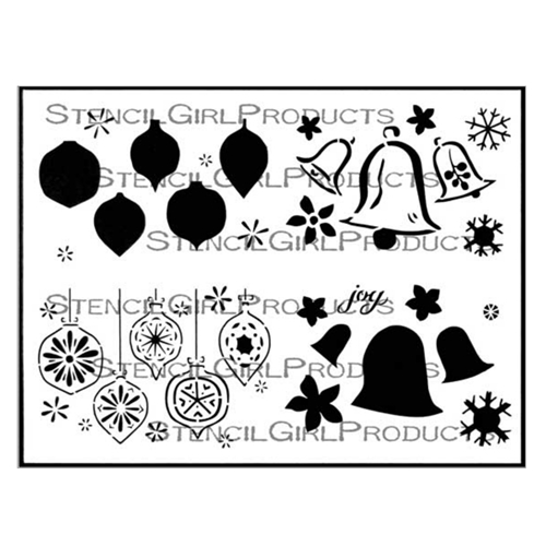 StencilGirl BELLS AND ORNAMENTS GREETING CARD SET 9x12 Stencil l689* Preview Image
