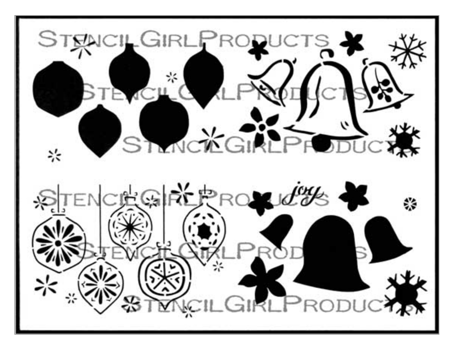 StencilGirl BELLS AND ORNAMENTS GREETING CARD SET 9x12 Stencil l689* zoom image