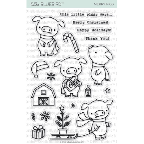 Hello Bluebird MERRY PIGS Clear Stamps hb2145 Preview Image