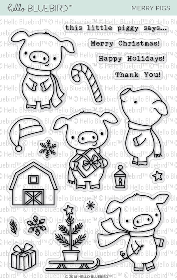 Hello Bluebird MERRY PIGS Clear Stamps hb2145 zoom image