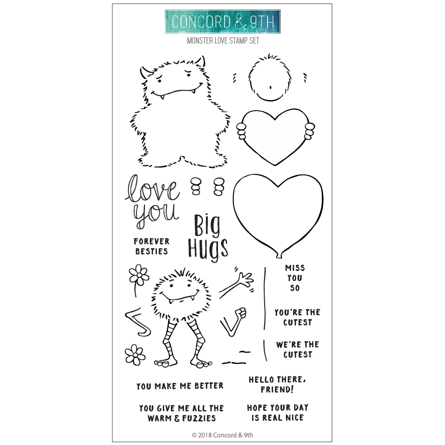 Concord & 9th MONSTER LOVE Clear Stamp Set 10518  zoom image