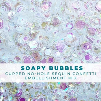 Trinity Stamps SOAPY BUBBLES CLEAR IRIDESCENT SEQUIN LIKE CONFETTI Embellishment Box 205722