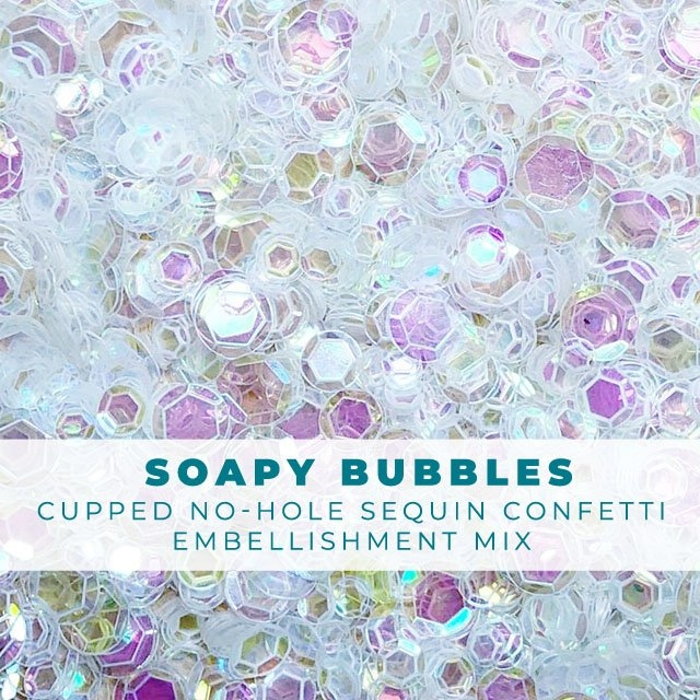 Trinity Stamps SOAPY BUBBLES CLEAR IRIDESCENT SEQUIN LIKE CONFETTI Embellishment Box 205722 zoom image