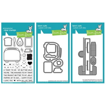 Lawn Fawn SET LET'S TOAST Clear Stamps and Dies LF18LT