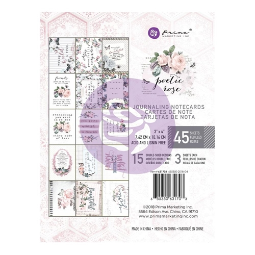 Prima Marketing POETIC ROSE 3 X 4 Journaling Cards Pad 631703 Preview Image