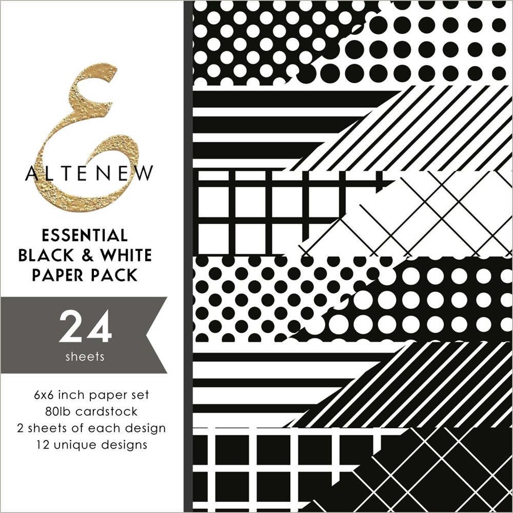 Altenew ESSENTIAL BLACK AND WHITE 6x6 Paper Pack ALT2890 zoom image