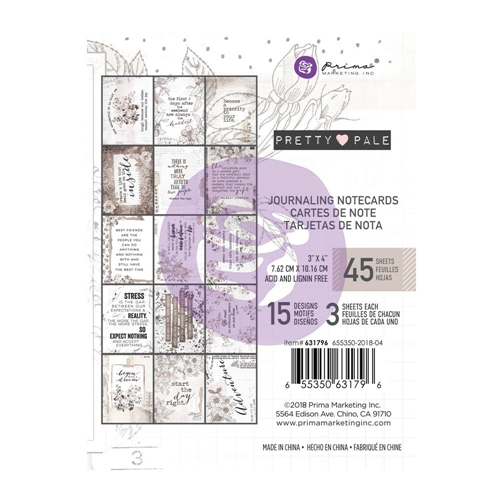 Prima Marketing PRETTY PALE 3 X 4 Journaling Cards Pad 631796 Preview Image