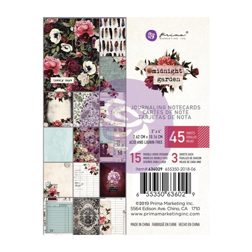 Prima Marketing MIDNIGHT GARDEN 3 X 4 Journaling Cards Pad 636029 Preview Image