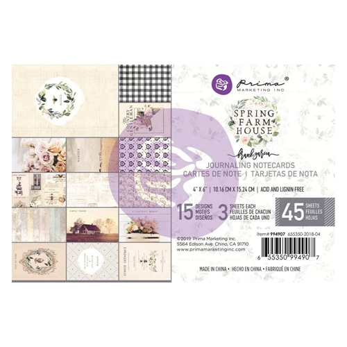 Prima Marketing SPRING FARMHOUSE 4 X 6 Journaling Cards Pad 994907 Preview Image