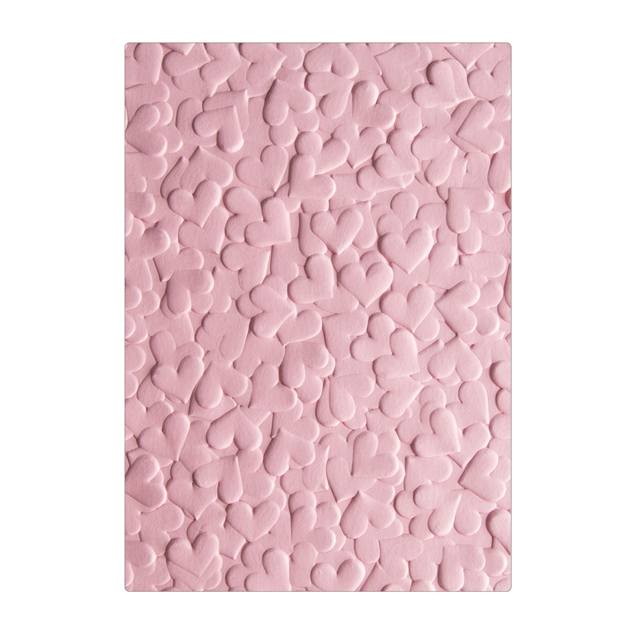 Sizzix Textured Impressions CONFETTI HEARTS 3D Embossing Folders 663201 zoom image