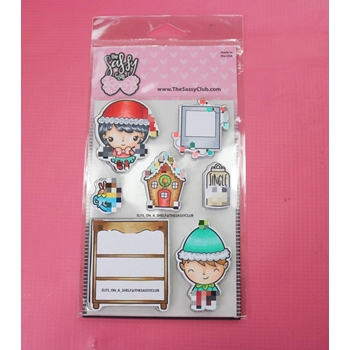 The Sassy Club ELFS ON A SHELF Clear Stamps TSCL202