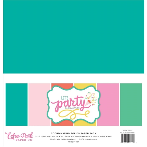 Echo Park LET'S PARTY 12 x 12 Double Sided Solids Paper Pack lp170015 Preview Image