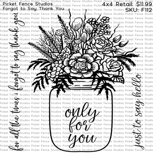 Picket Fence Studios FORGOT TO SAY THANK YOU Clear Stamps f112 Preview Image