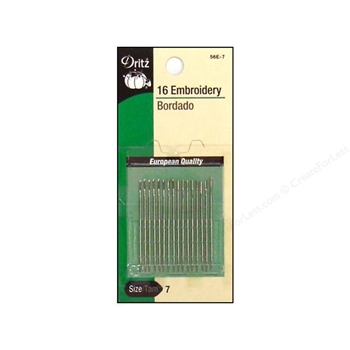 Dritz 16 EMBROIDERY NEEDLES Size 7 56e7