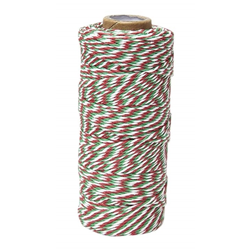 May Arts WHITE GREEN RED Baker's Twine Twisted Ribbon 4120245 Preview Image