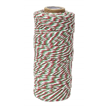 May Arts WHITE GREEN RED Baker's Twine Twisted Ribbon 4120245