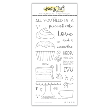 Honey Bee PIECE OF CAKE Clear Stamp Set hbst-151