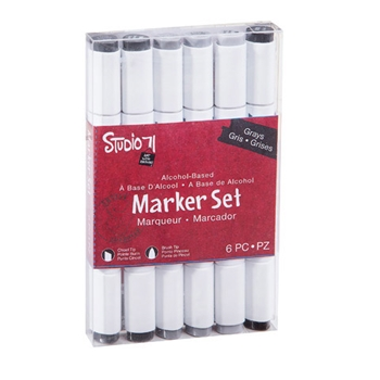 Studio 71 GRAYS 6 Piece Alcohol Marker Set 30038419