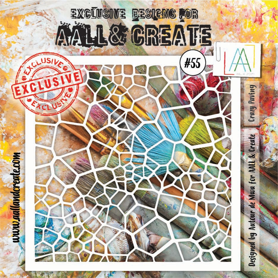 AALL & Create CRAZY PAVING Stencil 6x6 aal10055 zoom image
