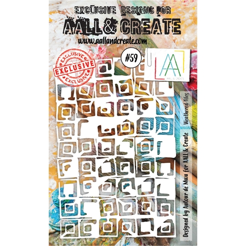 AALL & Create WEATHERED TILES Stencil 6x4 aal10059 Preview Image