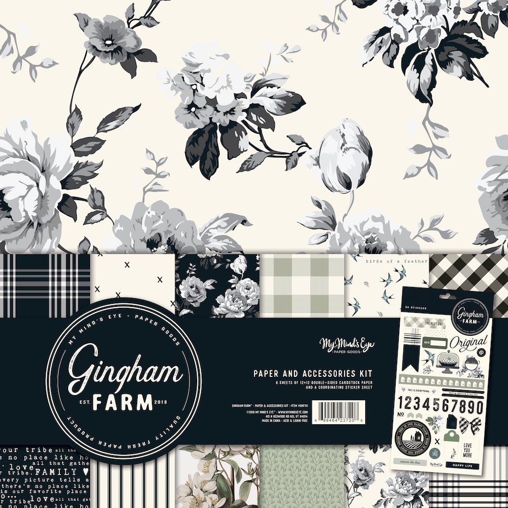 My Mind's Eye GINGHAM FARM 12 x 12 Paper And Accessories Kit ghf111 zoom image