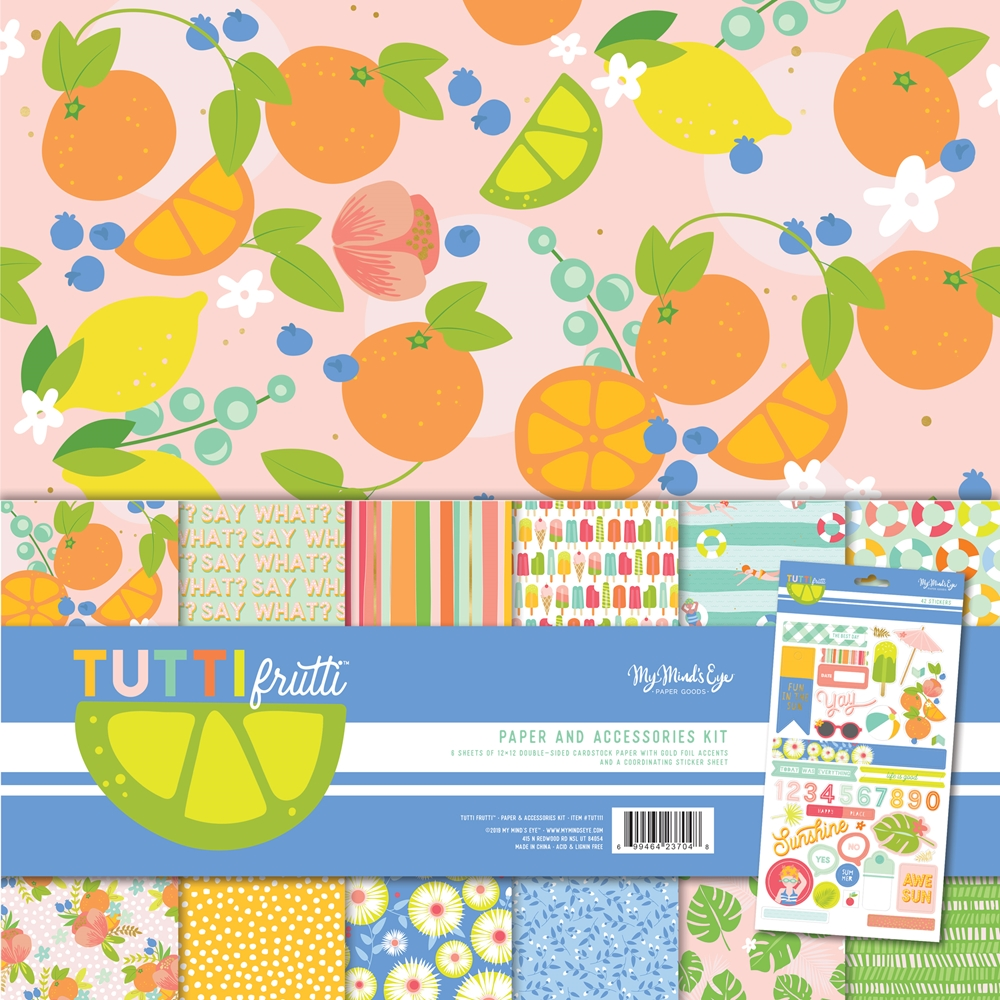 My Mind's Eye TUTTI FRUTTI 12 x 12 Paper And Accessories Kit tut111 zoom image