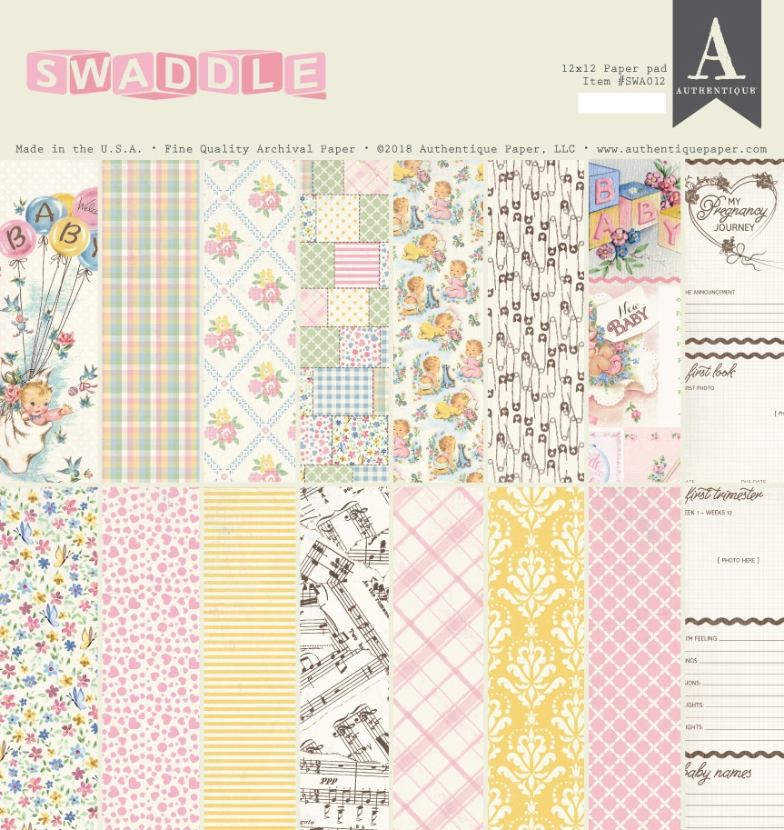 Authentique SWADDLE GIRL 12 x 12 Paper Pad swa012 zoom image