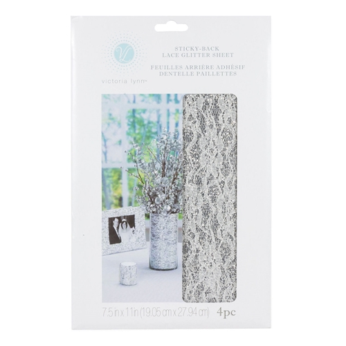 Victoria Lynn STICKY BACK LACE GLITTER SHEET Silver 4 piece vl6423slac * Preview Image