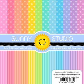 Sunny Studio DOTS AND STRIPES PASTELS Paper Pad SSPP-113