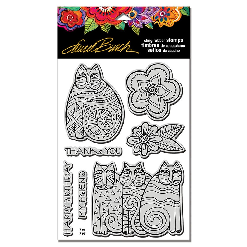 Stampendous Cling Stamps FELINE BLOOMS With Stencil Laurel Burch lbcrs09 zoom image