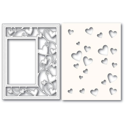 Poppy Stamps RIBBON HEART SIDEKICK FRAME Craft Die and Stencil 2152 Preview Image