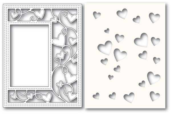 Poppy Stamps RIBBON HEART SIDEKICK FRAME Craft Die and Stencil 2152 zoom image