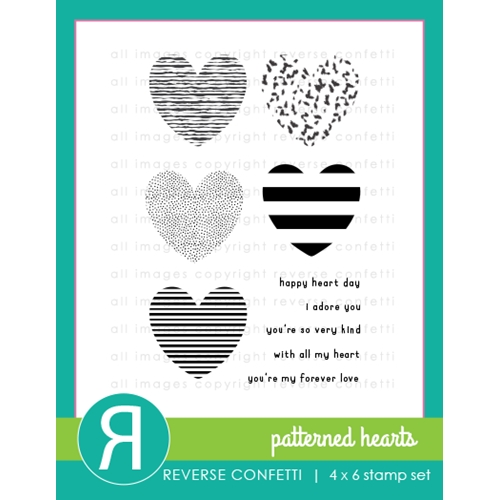 Reverse Confetti PATTERNED HEARTS Clear Stamps Preview Image